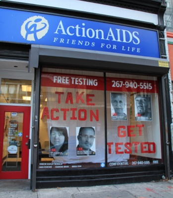 <p><p>The front window at the Center City annex of ActionAIDS encourages HIV testing year round. (Marta Rusek/for NewsWorks)</p></p>