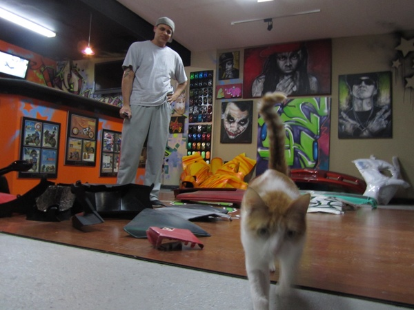 <p><p>The walls of Fred Sicoli's South Philadelphia airbrush studio are covered by his work. His cat Ceasar investigates the camera. (Peter Crimmins/NewsWorks)</p></p>