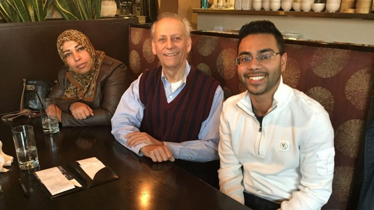 Faleeha and David are two people who met with the author. They are shown here at Harvest Restaurant in West Philadelphia. (Image courtesy of Akbar Hossain)