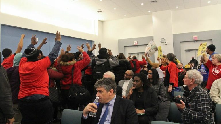 Charter school applicants and protesters crowd the School Reform Commission meeting Wednesday. (Kimberly Paynter/WHYY)