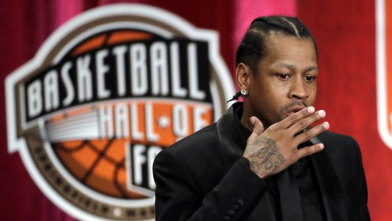 2016 Basketball Hall of Fame inductee Allen Iverson blows a kiss during induction ceremonies at Symphony Hall, Friday, Sept. 9, 2016, in Springfield, Mass. (AP Photo/Elise Amendola)
