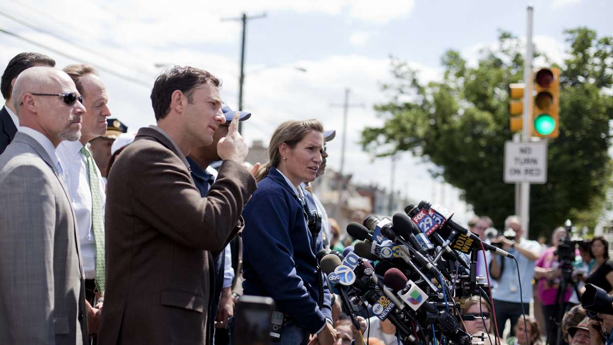 City of Philadelphia Director of Emergency Mannagement Samantha Phillips updates the press Wednesday afternoon at Frankford Avenue and Wheatsheaf Lane near the crash site of the derailed Amtrak train that killed seven passengers last night.