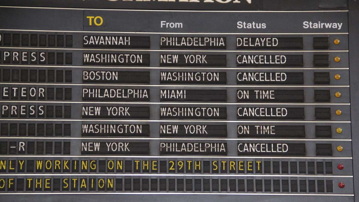 Amtrak trains between New York and Philadelphia are not running. The remainder of the Northeast Corridor is running with severe delays.