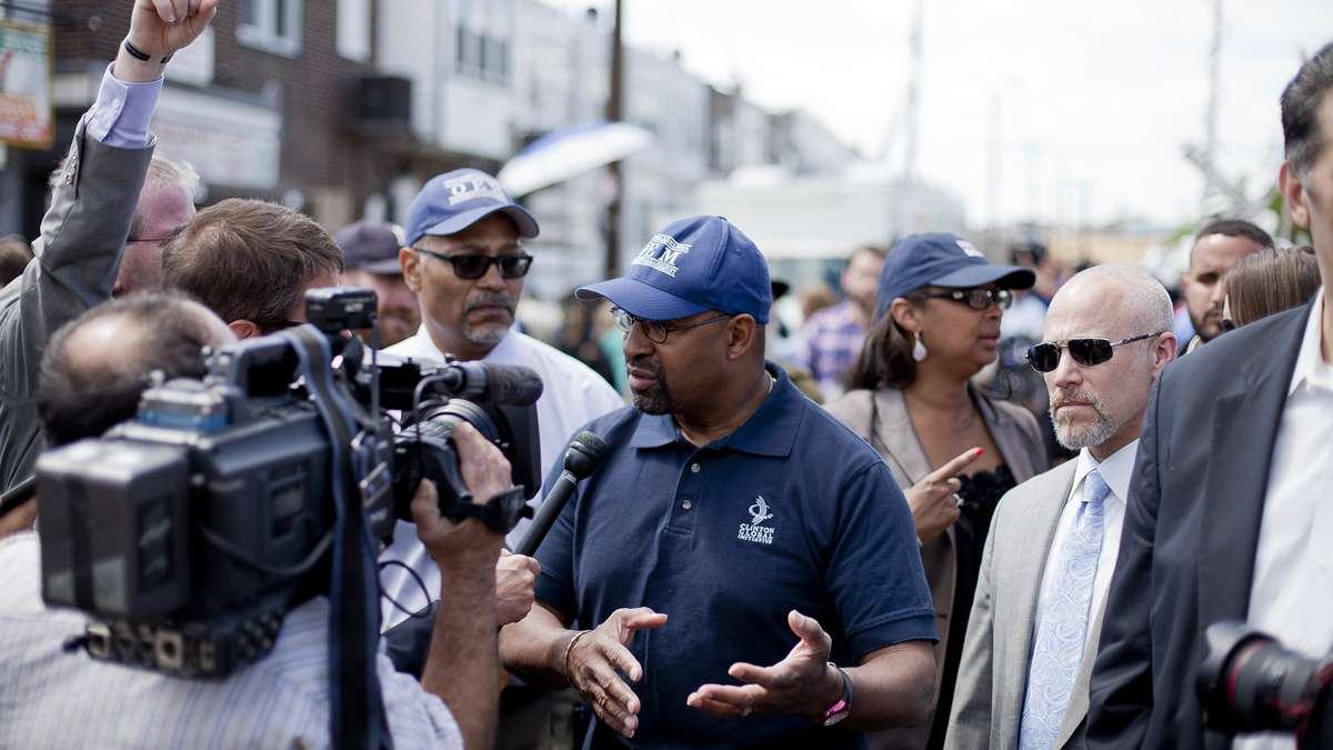 Mayor Nutter updates the press Wednesday Afternoon at Frankford Avenue and Wheatsheaf Lane near the crash site of the derailed Amtrak train that killed seven passengers last night.