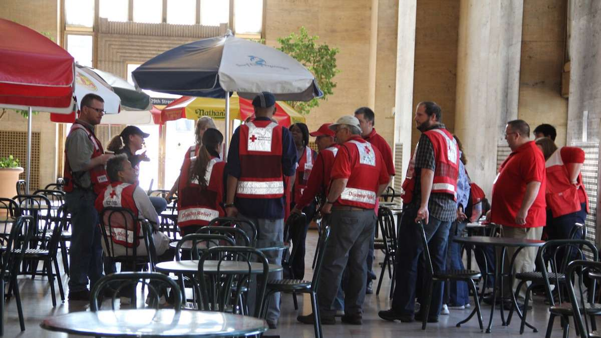 Red Cross setting up at Philadelphia's 30th Street Station.