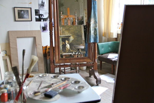 Sketches litter the paint-spattered floor of Andrew Wyeth's studio, which is arranged as though he were in the process of painting
