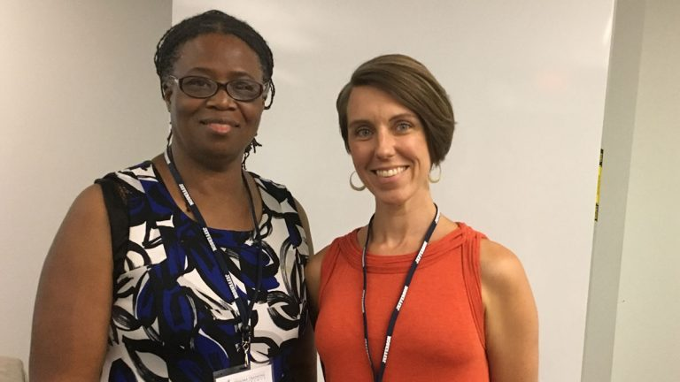 Cathleen Watkins (left)  and SaraLiz Gausz (right) presented a conference on trauma in K-12. (Anne Hoffman for NewsWorks)