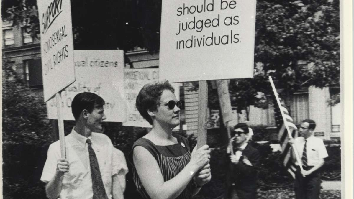 Barbara Gittings marches in the Annual Reminder in 1966. (Kay Tobin Lahusen/courtesy of the John J. Wilcox Jr. LGBT Archives)