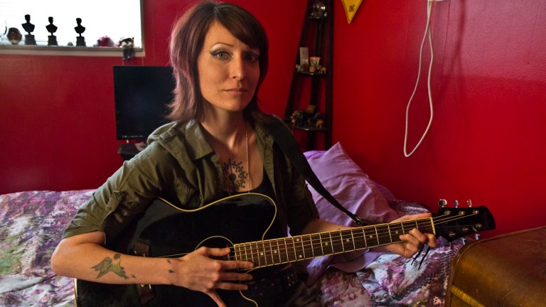 Kelianne Murray, or Anomie Fatale has Ehlers-Danlos Syndrome, a connective tissue disorder that plagues her nerves. (Kimberly Paynter/WHYY)