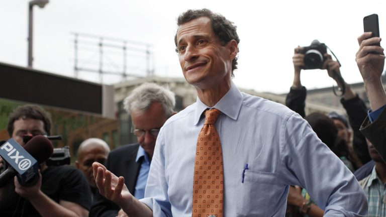 New York City mayoral hopeful Anthony Weiner speaks to reporters during a campaign event in May. (AP Photo/Jason DeCrow, file)