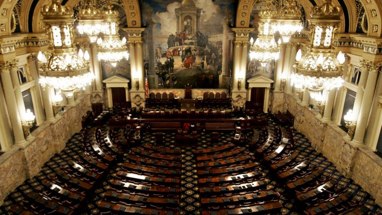The 203 seats in the Pennsylvania House of Representatives sit empty. Along with 50 Senate seats, the Keystone State has the largest full-time legislature in the nation. (AP file photo)