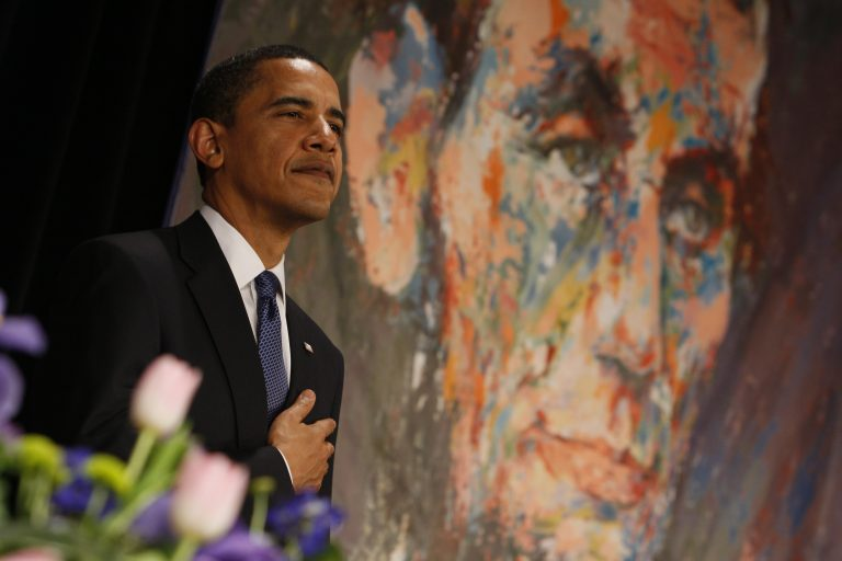 President Obama puts his hand to his heart during the Pledge of Allegiance at the 102nd Abraham Lincoln Association banquet in Springfield, Ill., in 2009. (AP Photo/Charles Dharapak)