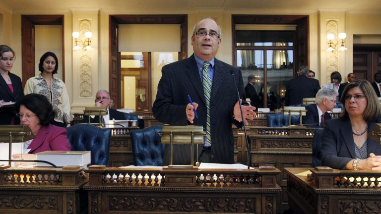 New Jersey Assemblyman Reed Gusciora, shown in 2010, has proposed an online registry of those  convicted of domestic violence in certain cases. (AP photo, file)