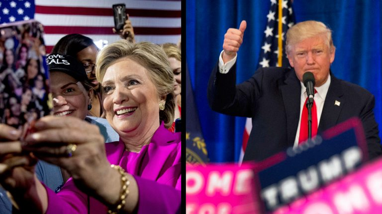 Democratic presidential candidate Hillary Clinton, (left) after speaking at a rally at Coastal Credit Union Music Park at Walnut Creek in Raleigh, N.C., Thursday, Nov. 3, 2016. Republican presidential candidate Donald Trump (right) during a campaign rally Friday, Nov. 4, 2016, in Atkinson, N.H. (Andrew Harnik and Jim Cole/AP Photos)