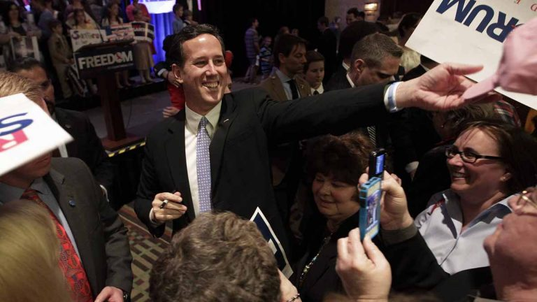 Republican presidential candidate, former U.S. Sen. Rick Santorum greets supporters during a primary election night party in Cranberry, Pennsylvania, April 3, 2012. (AP file  photo)