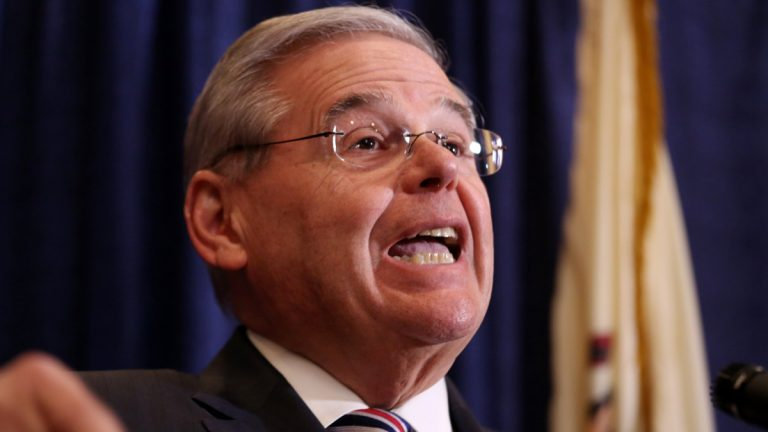 U.S. Sen. Bob Menendez speaks during a news conference, Wednesday evening in Newark, New Jersey. Menendez, the top Democrat on the U.S. Senate Foreign Relations Committee, was indicted on corruption charges, accused of using his office to improperly benefit an eye doctor and political donor. (AP Photo/Craig Ruttle