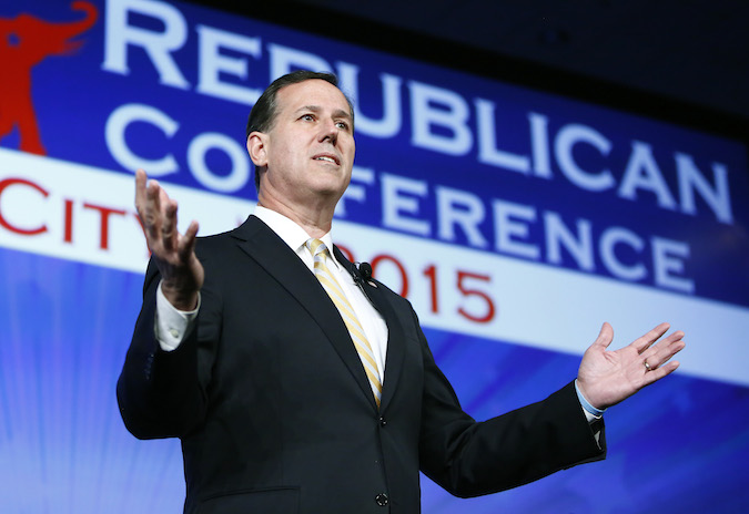 Former Pennsylvania Sen. Rick Santorum speaks at the Southern Republican Leadership Conference in Oklahoma City last week. He is expected to announce his candidacy for the 2016 Republican presidential nomination Wednesday. (AP Photo)