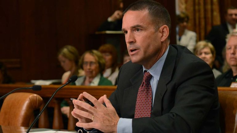 Marcus Brown speaks before the Pennsylvania Senate Law and Justice committee during his confirmation hearing for State Police Commissioner last week. The full Senate on Monday voted down his nomination, and now he will continue in an acting capacity to lead Pa. State Police.  (AP Photo/Marc Levy)