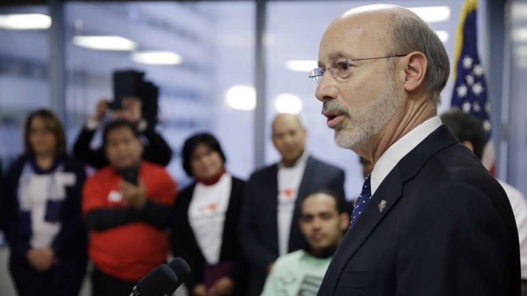 Gov. Tom Wolf speaks during a news conference Friday in Philadelphia where he announced budget initiatives and actions to allow more seniors to continue living in their homes as they age. The plan includes boosting the state's home care workforce. (Matt Rourke/AP Photo)
