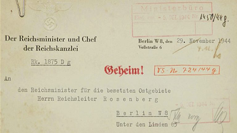 Federal officials released this communication to Alfred Rosenberg. A translation of the 1944 document mentions