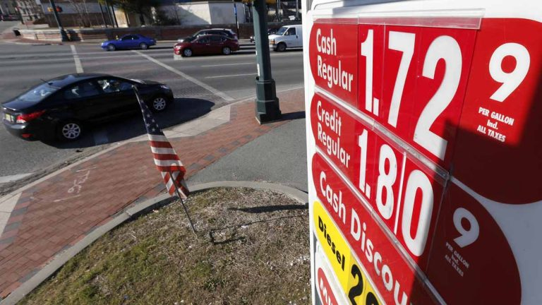 Traffic moves along Route 21 in downtown Newark, New Jersey, in January where a gas station listed the cash price for regular unleaded at $1.72. New Jersey voters polled by Quinnipiac are showing support for an increase in the state's gas tax. (AP file photo)