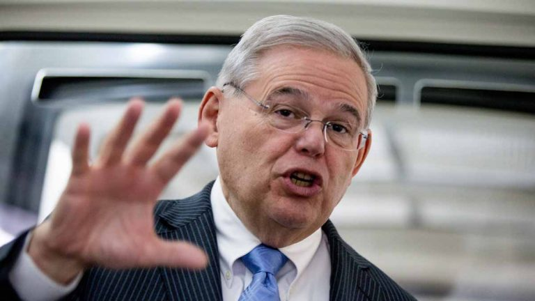 U.S. Sen. Bob Menendez, D-N.J., speaks with reporters on Capitol Hill in Washington this month.He took a business-as-usual approach when he returned to Congress after his April 1 indictment on federal corruption charges. (AP photo/Andrew Harnik)