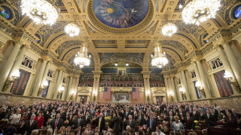 Members of the Pennsylvania General Assembly are sworn in Tuesday at the state Capitol in Harrisburg. Republicans who control both the Senate and House picked up additional seats in the November election. (AP Photo/Matt Rourke)