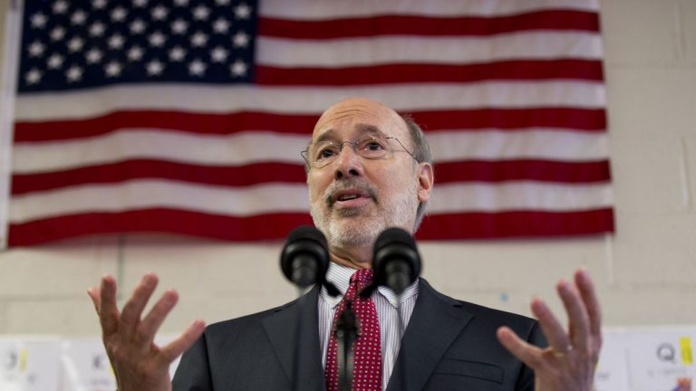 Gov. Tom Wolf Caln speaks during a news conference at Elementary School Wednesday this month in Thorndale, Pennsylvania. (AP Photo/Matt Rourke)