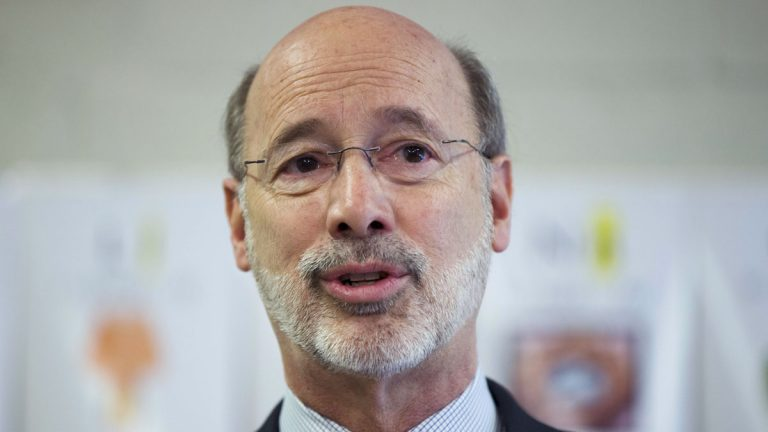 Pennsylvania Gov. Tom Wold says what he meant by his remark that the state has 'low self-esteem' is that good leadership should focus on Pennsylvania's many positive attributes, including its history, location, and world-class cities. (AP photo/Matt Rourke)