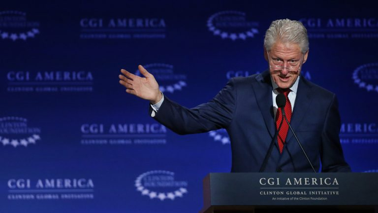 Former U.S. President Bill Clinton speaks to participants in the annual gathering of the Clinton Global Initiative America, which is a part of The Clinton Foundation in Denver last week. He was in Philadelphia Monday to deliver the keynote address to the  Klick Health Ideas Exchange. (AP Photo/Brennan Linsley)