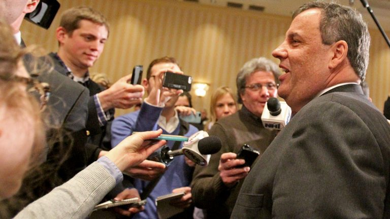 New Jersey Gov. Chris Christie speaks to the media at the third Annual Lincoln-Reagan Dinner at The Grappone Center Monday in Concord, New Hampshire. (AP photo/Mary Schwalm)