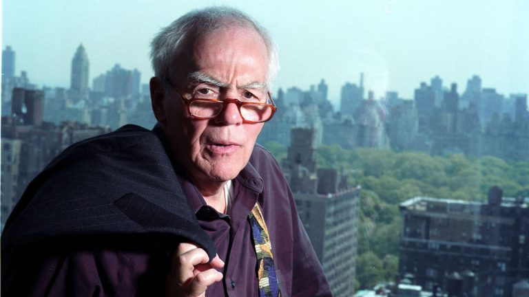 Columnist Jimmy Breslin poses in his New York apartment May 7, 2002. The Pulitzer Prize winner filed his last regular column, published in Newsday, on Tuesday, Nov. 2, 2004,  (AP Photo/Jim Cooper)