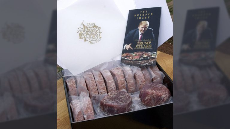 Trump Steaks from Donald Trump, shown in this May 9, 2007 photo, uses USDA Prime Certified Angus Beef Brand meat. Sold through The Sharper Image, several different combinations of cuts are available in 'collections' and shipped frozen on dry ice to anywhere. (AP Photo/Larry Crowe)