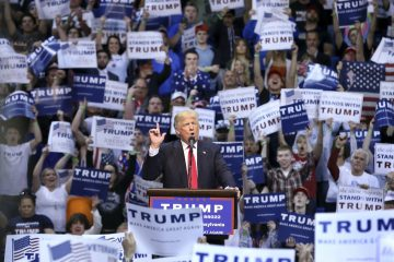 Donald Trump addresses a crowd of supporters in Wilkes Barre