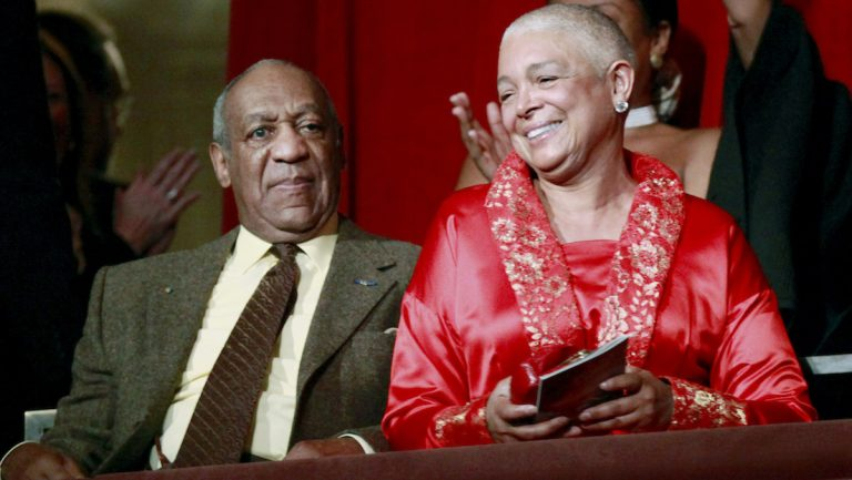 In this Oct. 26, 2009 file photo, comedian Bill Cosby, left, and his wife Camille appear at the John F. Kennedy Center for Performing Arts before he received the Mark Twain Prize for American Humor in Washington. (AP Photo/Jacquelyn Martin, File)