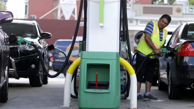 Prices are rising in New Jersey and across the region at gas stations such as this one  in Hoboken where Tofail Ahmed pumps gas. (AP file photo)