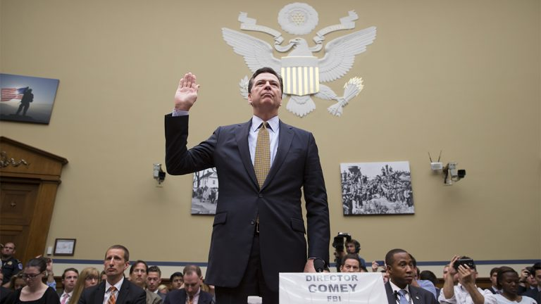 FBI Director James Comey is sworn in on Capitol Hill in Washington
