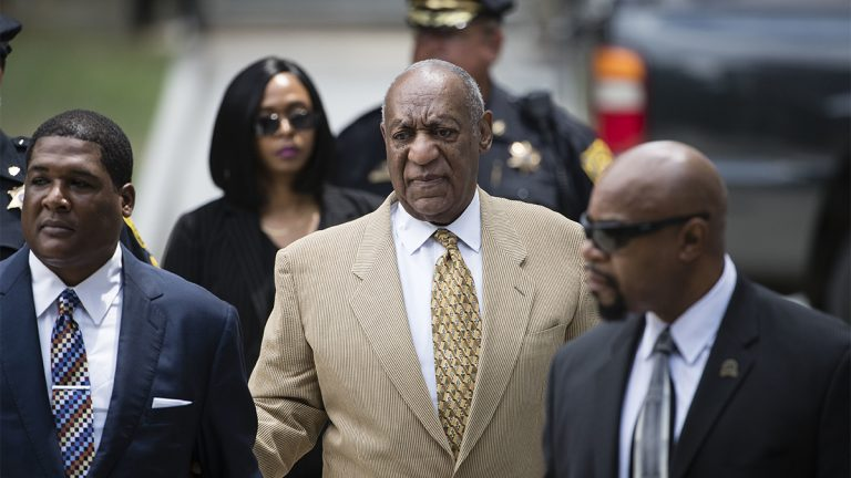 Bill Cosby arrives for a pretrial hearing in his criminal sex-assault case at the Montgomery County Courthouse in Norristown