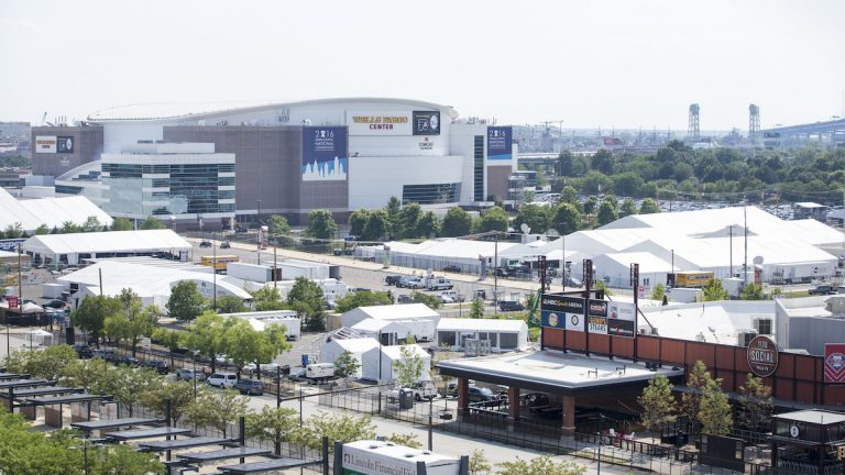 View of the Wells Fargo Center from Citizens Bank Park on Thursday