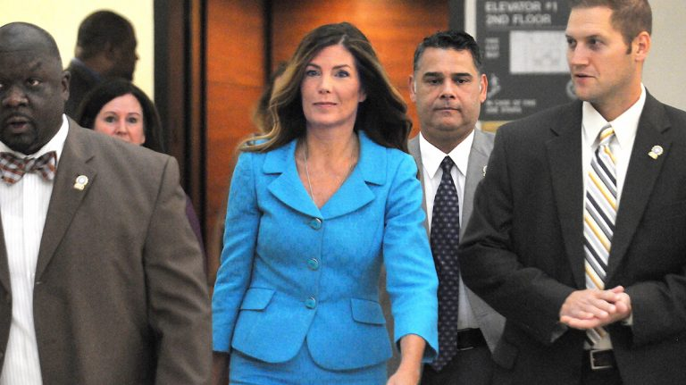 Pennsylvania Attorney General Kathleen Kane enters the Montgomery County courtroom on Thursday