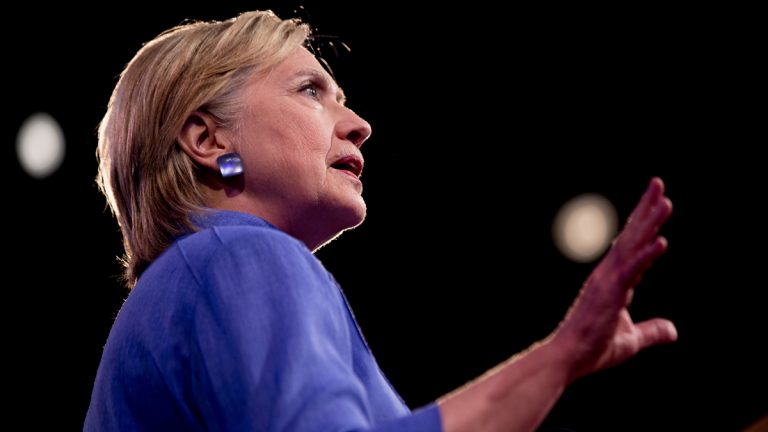 Democratic presidential candidate Hillary Clinton speaks at the American Legion's 98th Annual Convention at the Duke Energy Convention Center in Cincinnati