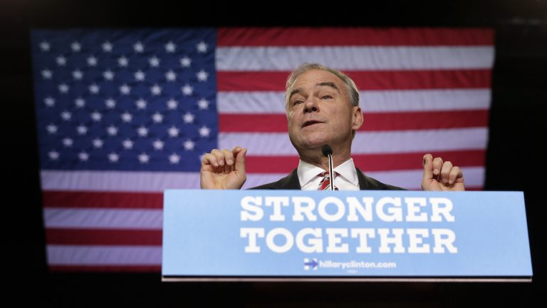 Democratic vice presidential candidate, Sen. Tim Kaine, D-Va. speaks during a campaign rally in Wilmington, N.C., Tuesday, Sept. 6, 2016. (AP Photo/Chuck Burton)