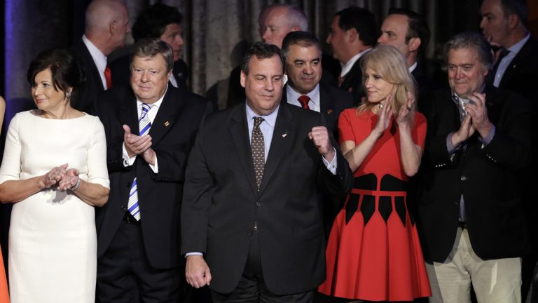 New Jersey Gov. Chris Christie pumps his fist as President-elect Donald Trump gives his acceptance speech during his election night rally in New York. (AP Photo/John Locher)