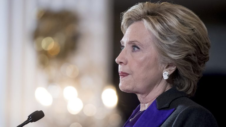 Hillary Clinton pauses while speaking in New York