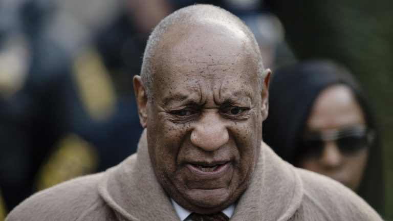 Bill Cosby departs after a pretrial hearing in his sexual assault case at the Montgomery County Courthouse in Norristown