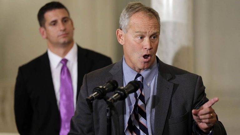 Pennsylvania House Majority Leader Dave Reed, R-Indiana, looks on as Pennsylvania House Speaker Mike Turzai, R-Allegheny, speaks holds a press conference in October. Democrats have started blaming Turzai for the state buddget impasse.  (AP Photo/Matt Rourke)