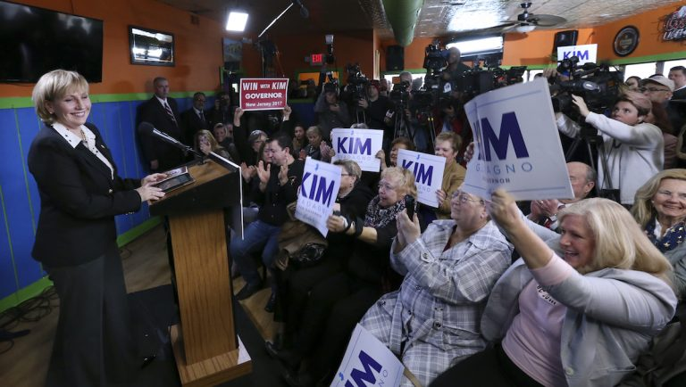 Supporters wave signs as Republican New Jersey Lt. Gov. Kim Guadagno announces her candidacy for governor