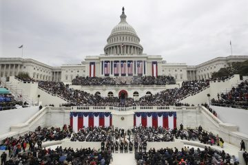President Donald Trump delivers his inaugural address after being sworn in as the 45th president of the United States during the 58th Presidential Inauguration at the U.S. Capitol in Washington