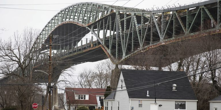 The bridge connecting the Pennsylvania and New Jersey turnpikes over the Delaware River will reopen Thursday. (Matt Rourke/AP)
