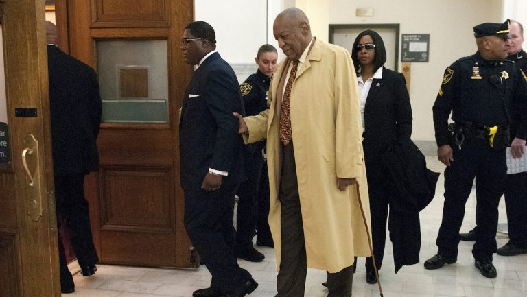 Bill Cosby arrives for a pre-trial hearing at the Montgomery County courthouse Monday, Feb. 27, 2017, in Norristown, Pa. Cosby is seeking a venue change for his criminal sex assault trial. (Bill Fraser/Bucks County Courier Times via AP, Pool)